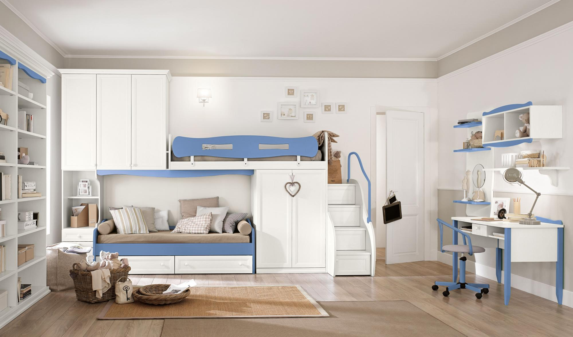 Arcadia Equipped Overhead Wardrobes - Baby and Kids - Bunk beds - Colombini Casa - Light blue - White - Kids bedrooms