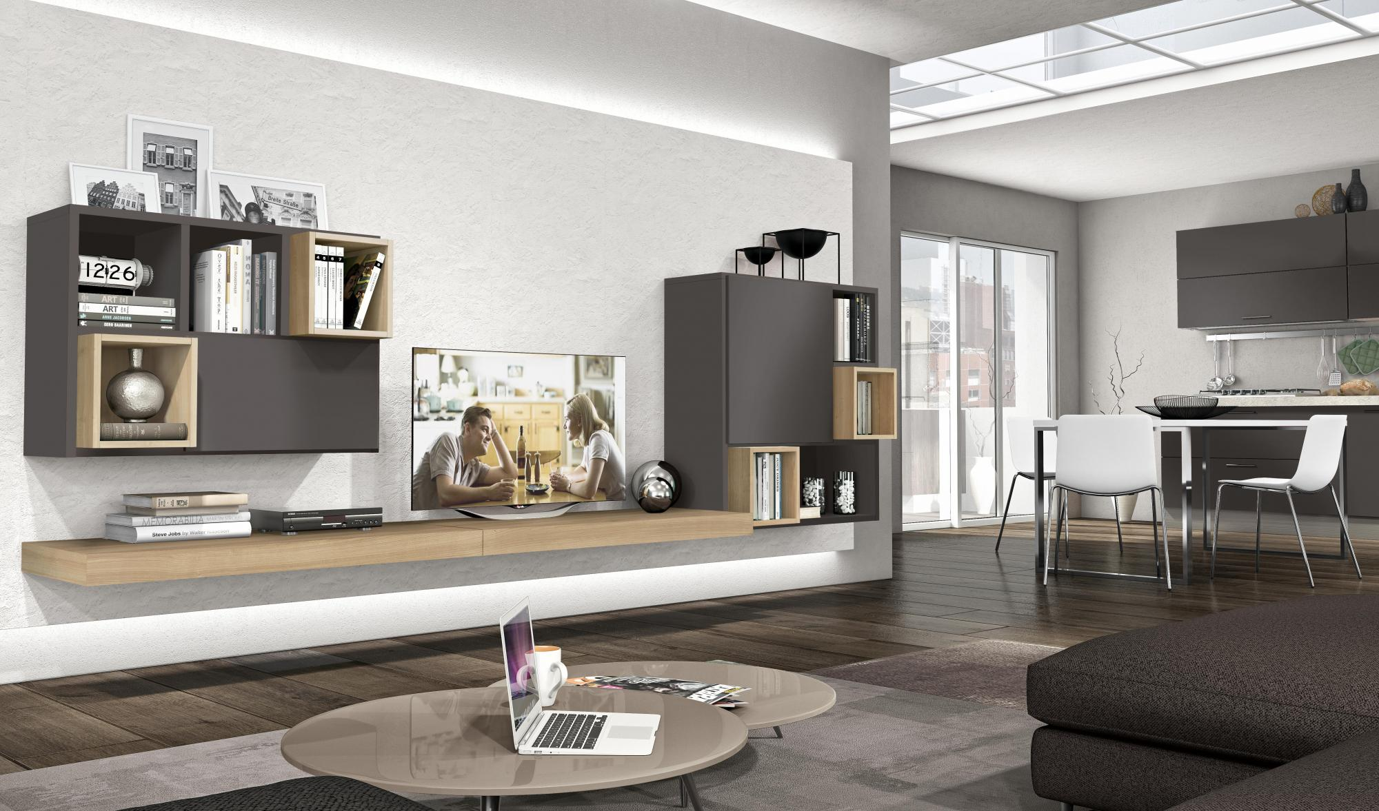 Golf L128 - Living room - Living room ideas - Colombini Casa - Grey - Wood - Suspended