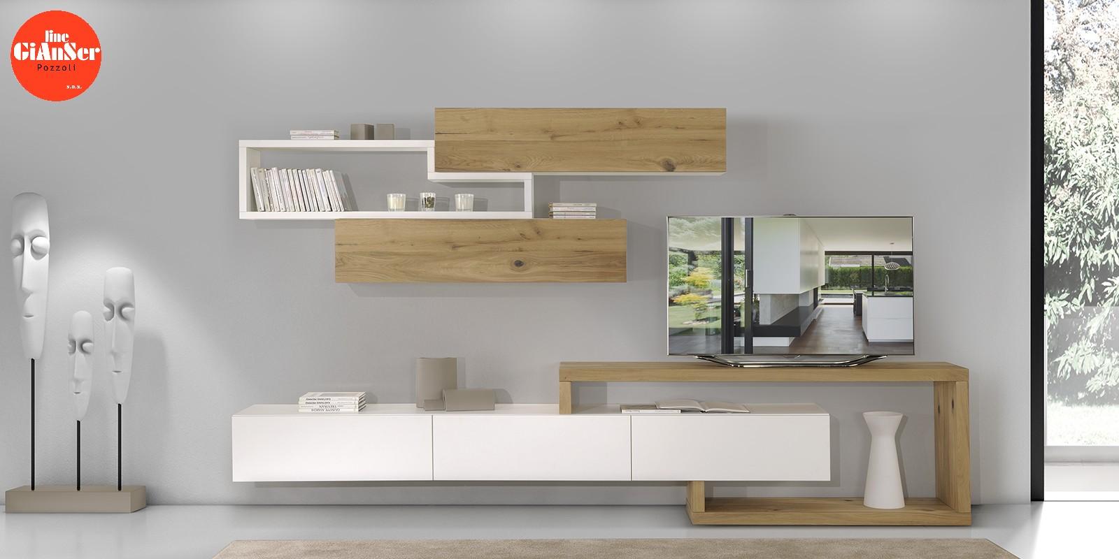 Line Gianser - mobile soggiorno - finitura legno rovere e bianco laccato poro aperto