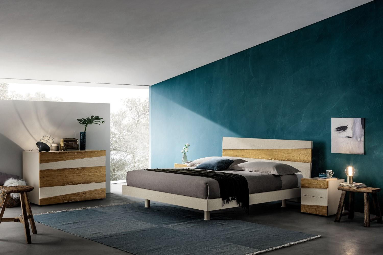 Napol - camera da letto - legno naturale rovere laccato e legno briccola