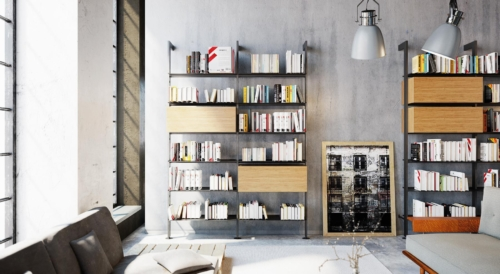 iron shelf - bookcase ideas - livingroom - living design - furniture - modern furniture - office- home