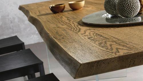 Tavolo legno - massiccio - massello - Woodheart - rovere - spazzolato - anticato - effetto scortecciato