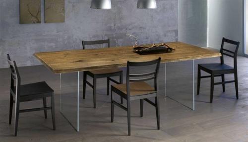Tavolo legno - massiccio - massello - Woodheart - rovere - spazzolato - anticato - gambe in vetro