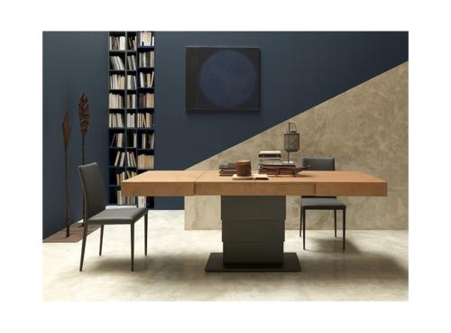 Tavolini trasformabili - Altacom - tavolo da pranzo - struttura centrale in acciaio - regolabile in altezza - laminato - legno - effetto malta - ceramica - Ares Fold 2