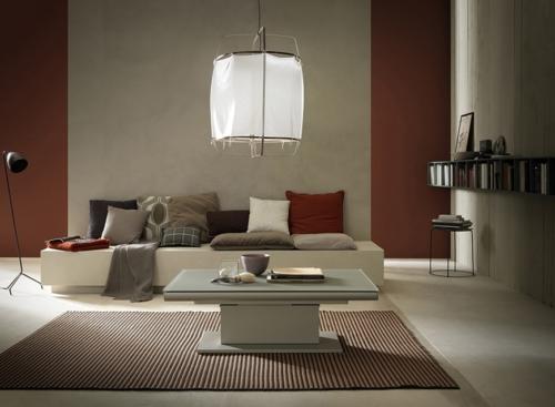 Tavolini trasformabili - Altacom - tavolo da pranzo - struttura centrale in acciaio - regolabile in altezza - laminato - legno - effetto malta - ceramica - Ares Glass