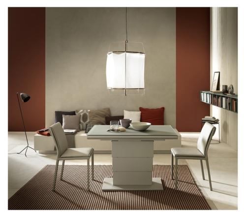 Tavolini trasformabili - Altacom - tavolo da pranzo - struttura centrale in acciaio - regolabile in altezza - laminato - legno - effetto malta - ceramica - Ares Glass 2