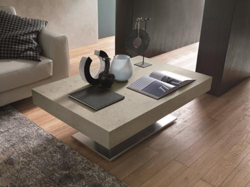 Tavolini trasformabili - Altacom - tavolo da pranzo - struttura centrale in acciaio - regolabile in altezza - laminato - legno - effetto malta - ceramica - Ares Mega