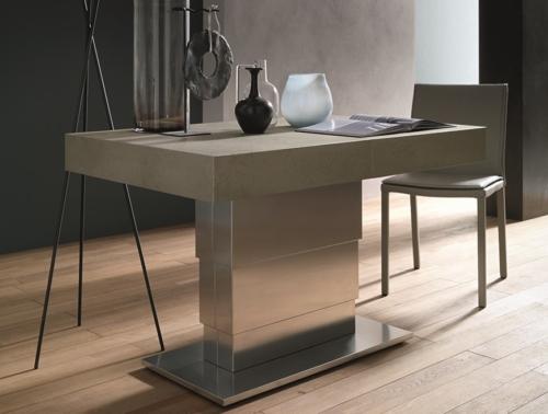 Tavolini trasformabili - Altacom - tavolo da pranzo - struttura centrale in acciaio - regolabile in altezza - laminato - legno - effetto malta - ceramica - Ares Mega 2