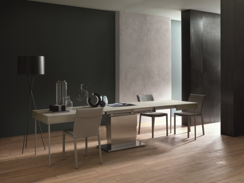 Tavolini trasformabili - Altacom - tavolo da pranzo - struttura centrale in acciaio - regolabile in altezza - laminato - legno - effetto malta - ceramica - Ares Mega 3