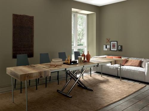 Tavolini trasformabili - Altacom - tavolo da pranzo - struttura centrale in acciaio - regolabile in altezza - laminato - legno - effetto malta - ceramica - Assist 2