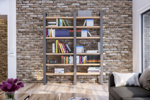 Struttura in ferro e legno - Damiano Latini -Parete attrezzata - Outline