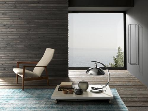 Tavolini trasformabili - Altacom - tavolo da pranzo - struttura centrale in acciaio - regolabile in altezza - laminato - legno - effetto malta - ceramica - Bessy