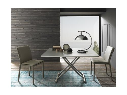 Tavolini trasformabili - Altacom - tavolo da pranzo - struttura centrale in acciaio - regolabile in altezza - laminato - legno - effetto malta - ceramica - Bessy 2