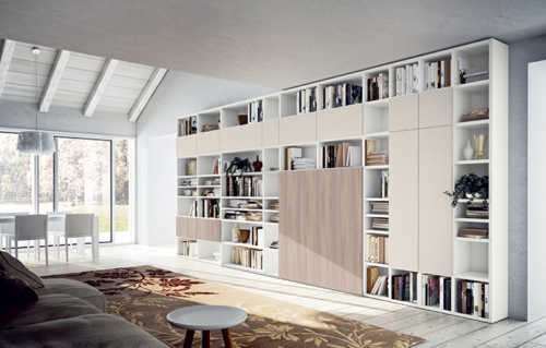 Living - modern furniture - bookcase - shelving systems  - Modern Library - sideboards - shelves - TV panels - accessories