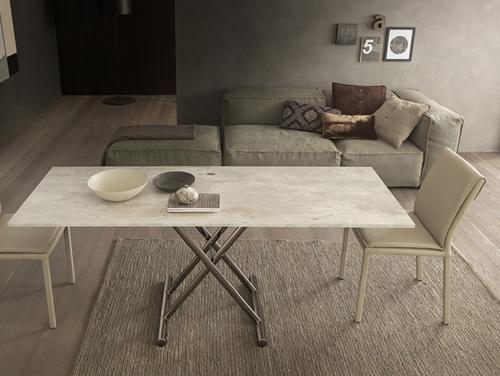 Tavolini trasformabili - Altacom - tavolo da pranzo - struttura centrale in acciaio - regolabile in altezza - laminato - legno - effetto malta - ceramica - Gingillo 2