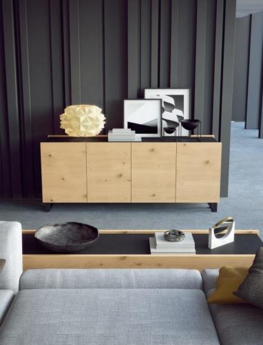 mobili - soggiorno -parete attrezzata - ferro - legno - Granzotto - Iron wood day - essential