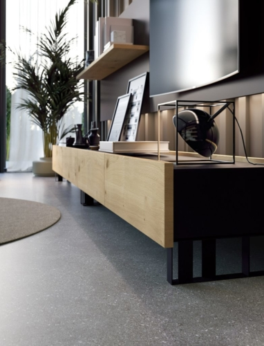 mobili - soggiorno -parete attrezzata - ferro - legno - Granzotto - Iron wood day - essential 2