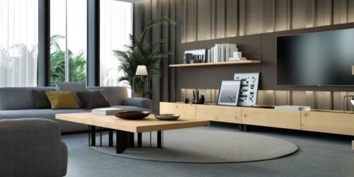 mobili - soggiorno -parete attrezzata - ferro - legno - Granzotto - Iron wood day - essential 3