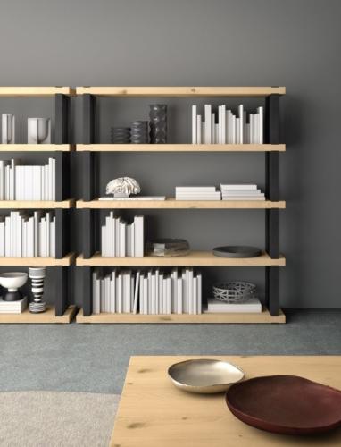 mobili - soggiorno -parete attrezzata - ferro - legno - Granzotto - Iron wood day - essential 4