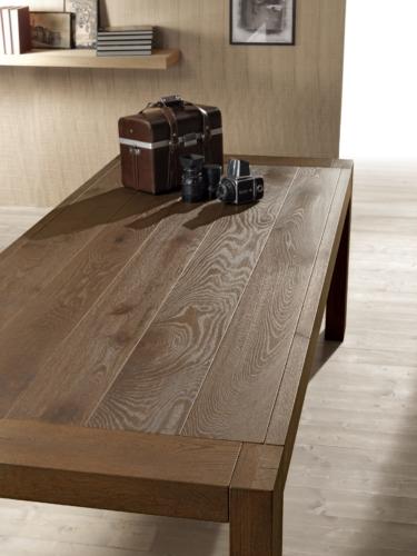 Tavoli - Pizzolato - Allungabile - Impiallaciato - tavolo legno massello - gambe vetro - tavolo legno grezzo