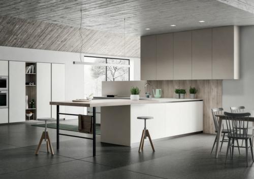 Arredamento - Cucine moderne - cucina con maniglia - Gentili Group - Time maniglia - rovere naturale - laccato bianco