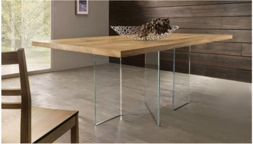 Tavolo legno - massiccio - massello - Woodheart - rovere - tavolo design - gambe vetro