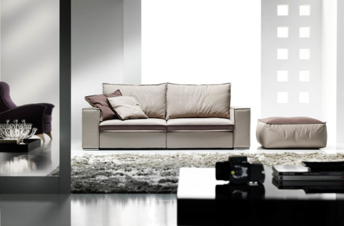 Divano - Eurosalotto - Adam - divano beije 2 posti con schienali - cuscini