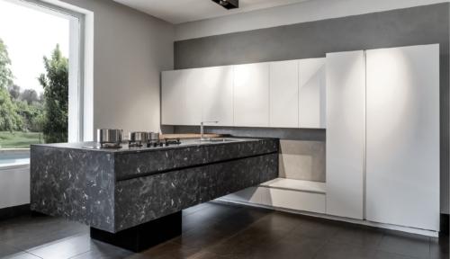 Cucine - Cucine moderne - cucina con gola - Gentili Group - Time gola - lacccato seta opaco - laminato hpl - nero