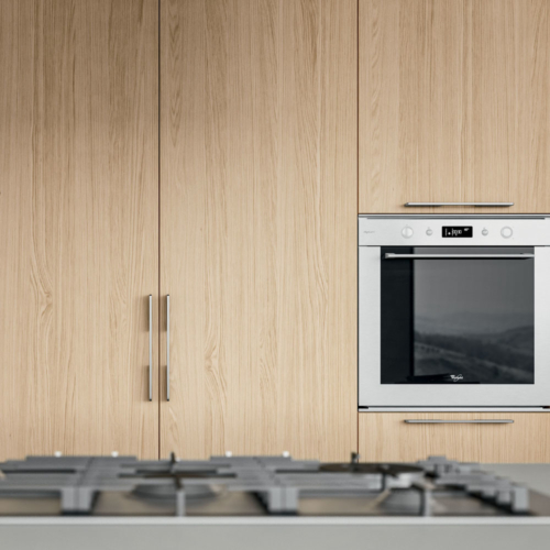 Cucine - Cucine moderne - cucina con maniglia - Gentili Group - Time maniglia - rovere naturale - laccato bianco - gesso opaco - top fenix