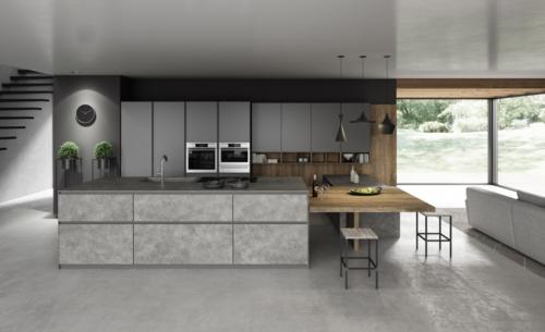 Cucine - cucine moderne - telaio alluminio - Gentili group - Time - vetro grigio opaco - laminam imperador grigio