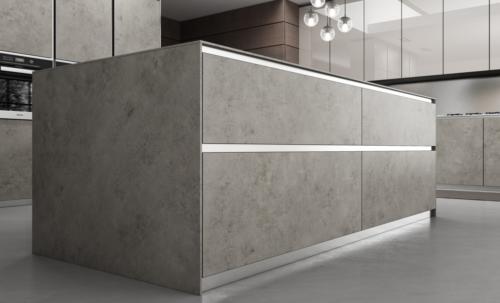 Cucine - cucine moderne - telaio alluminio - Gentili group - Time - vetro vulcanico lucido - laminam fokos roccia - top acciaio vintage