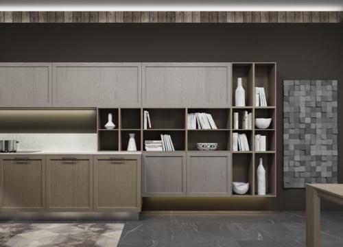 Arredamento - cucine moderne - telaio impiallacciato - Gentili group - Time - rovere terra - rovere ocra - quarzo bianco